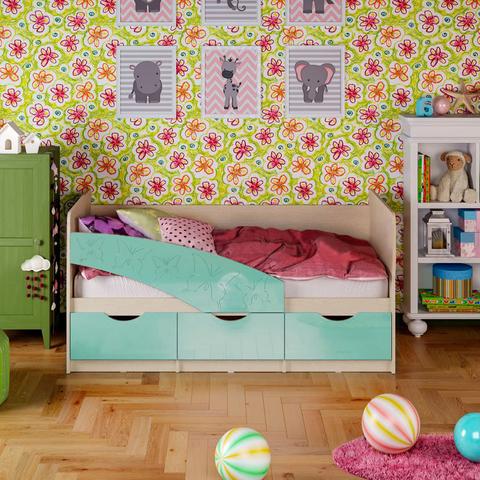 Кровать Бабочки бирюза