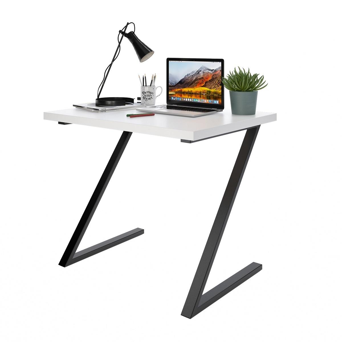 Письменный стол ДОМУС СП012 белый/металл черный