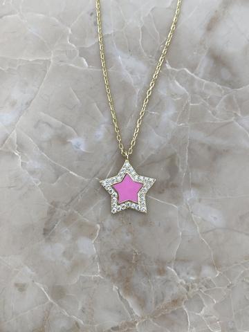 Колье Стелла из серебра, розовая эмаль