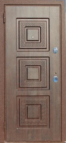 Дверь входная Алмаз 2 стальная, тиковое дерево, 2 замка, фабрика Алмаз