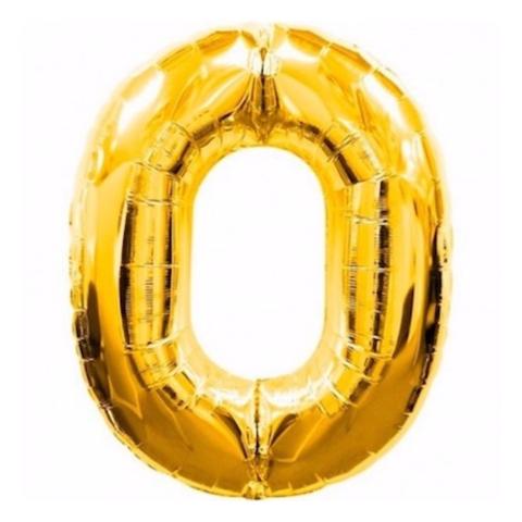 Фольгированная цифра золотая 0