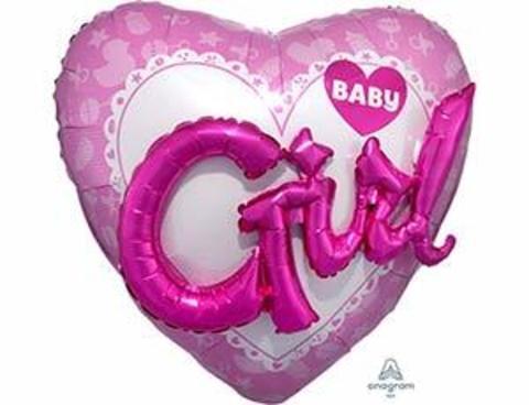 Фольгированный шар ДЖАМБО Baby Girl сердце розовое