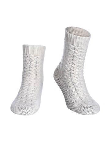 Женские носки молочного цвета из 100% кашемира - фото 1