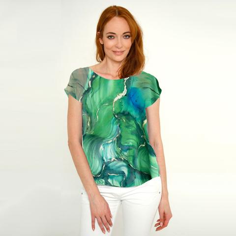 Шелковая блузка батик Изумруд