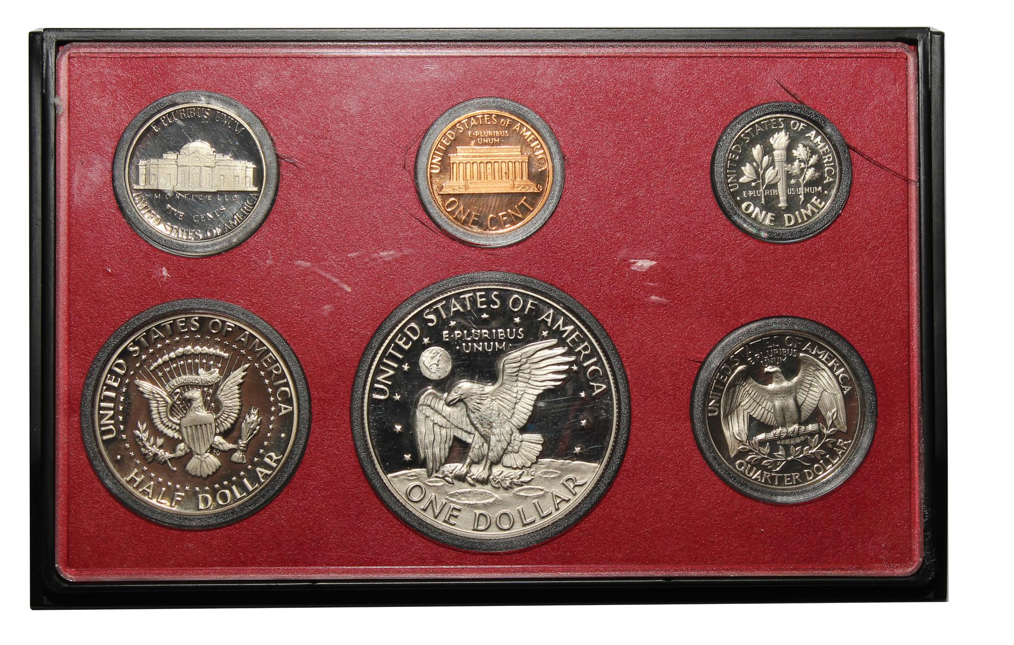 Годовой набор монет США 1978 год в футляре (1, 5, 10, 25, 50 центов; 1 доллар) (6 монет)