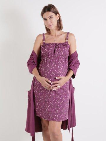 Euromama/Евромама. Комплект для беременных и кормящих рукав 3/4 ем 1017, лиловый размер 42