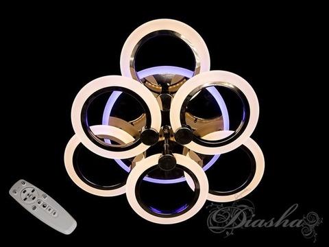 Черный Хром Светодиодная люстра с димером и подсветкой 85W