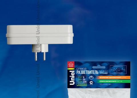 S-GES3-16P Разветвитель сетевой Uniel, количество розеток – 3, Максимальный ток - 16А, Максимальная мощность нагрузки – 3500Ватт, заземление, упаковка – пакет