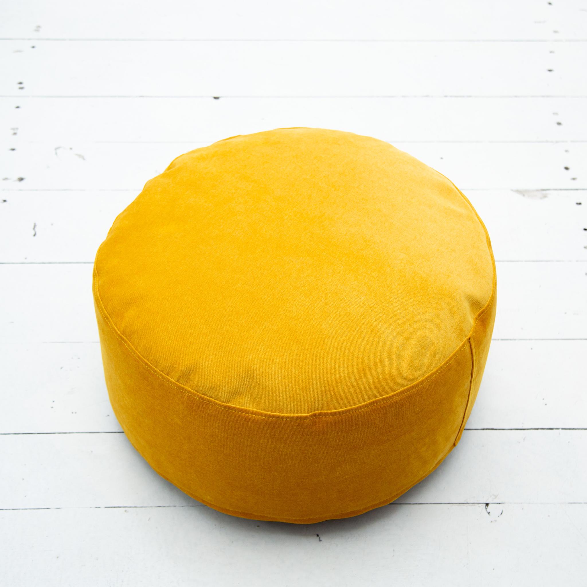 Пуф микровельвет (горчичный)