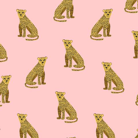 Леопарды на розовом