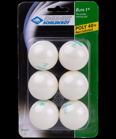 Мяч для настольного тенниса 1* Elite, белый, 6 шт.