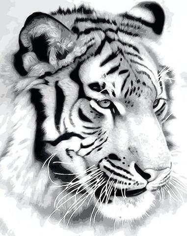 Алмазная Мозаика 30x40 Взрослый черно-белвый лев