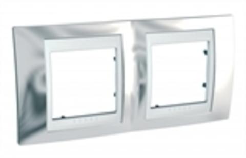 Рамка на 2 поста. Цвет Серебро/Белый. Schneider electric Unica Хамелеон. MGU66.004.810