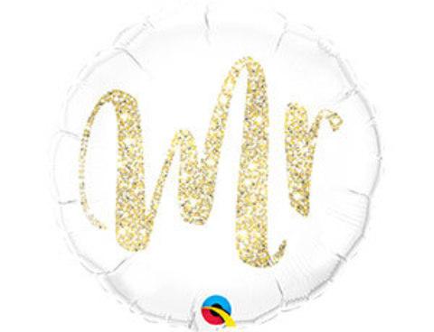 Фольгированный шар MR глиттер золото