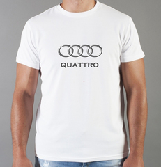 Футболка с принтом Ауди Кватро (Audi quattro) белая 0036