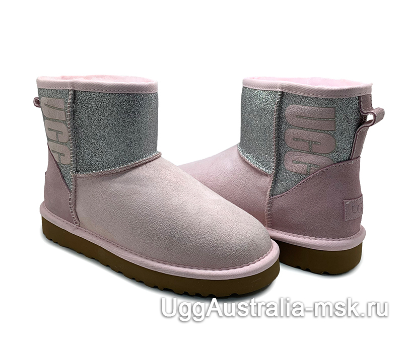 UGG CLASSIC MINI SPARKLE BOOT SEASHELL PINK