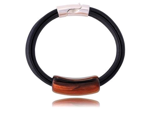 Кожаный браслет с керамикой