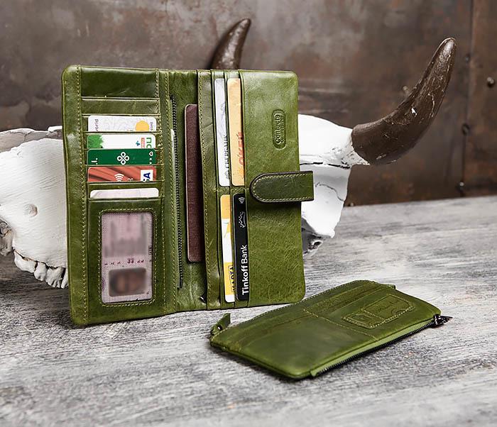 WL252-4 Клатч из натуральной кожи зеленого цвета фото 09