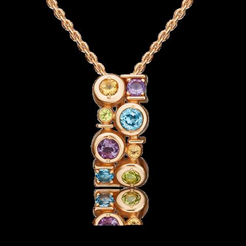 03-3207-00-730-1110-57 - Золотая подвеска с миксом полудрагоценных камней