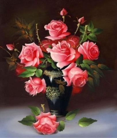 Алмазная Мозаика 30x40 Розовые розы в вазе (арт. S3272)