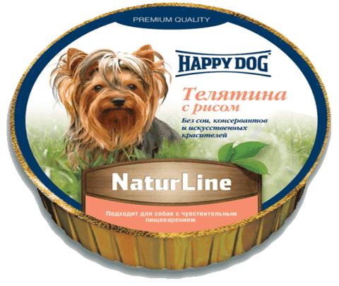 купить Happy Dog NaturLine Телятина с рисом влажный паштет (ламистер) для щенков и взрослых собак 1 шт