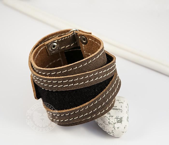 BL425-2 Широкий мужской браслет из кожи, ручная работа,  «Boroda Design» фото 04