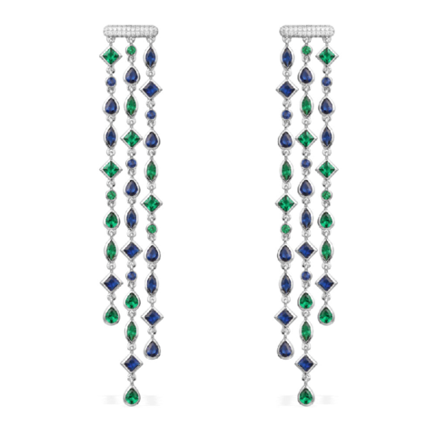 240970 - Серьги из серебра длинные с цветными цирконами