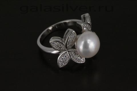 Кольцо с жемчугом и цирконом из серебра 925