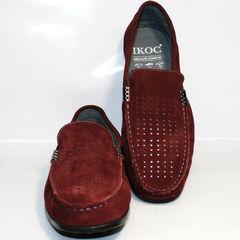Летние мокасины мужские модные IKOC 1555-3 Red.
