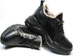 Зимние кроссовки из натуральной кожи женские Studio27 547c All Black.