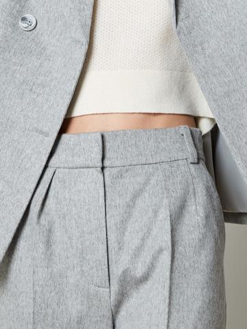 Брюки с защипами из шерсти и ангоры св.серый на подкладке