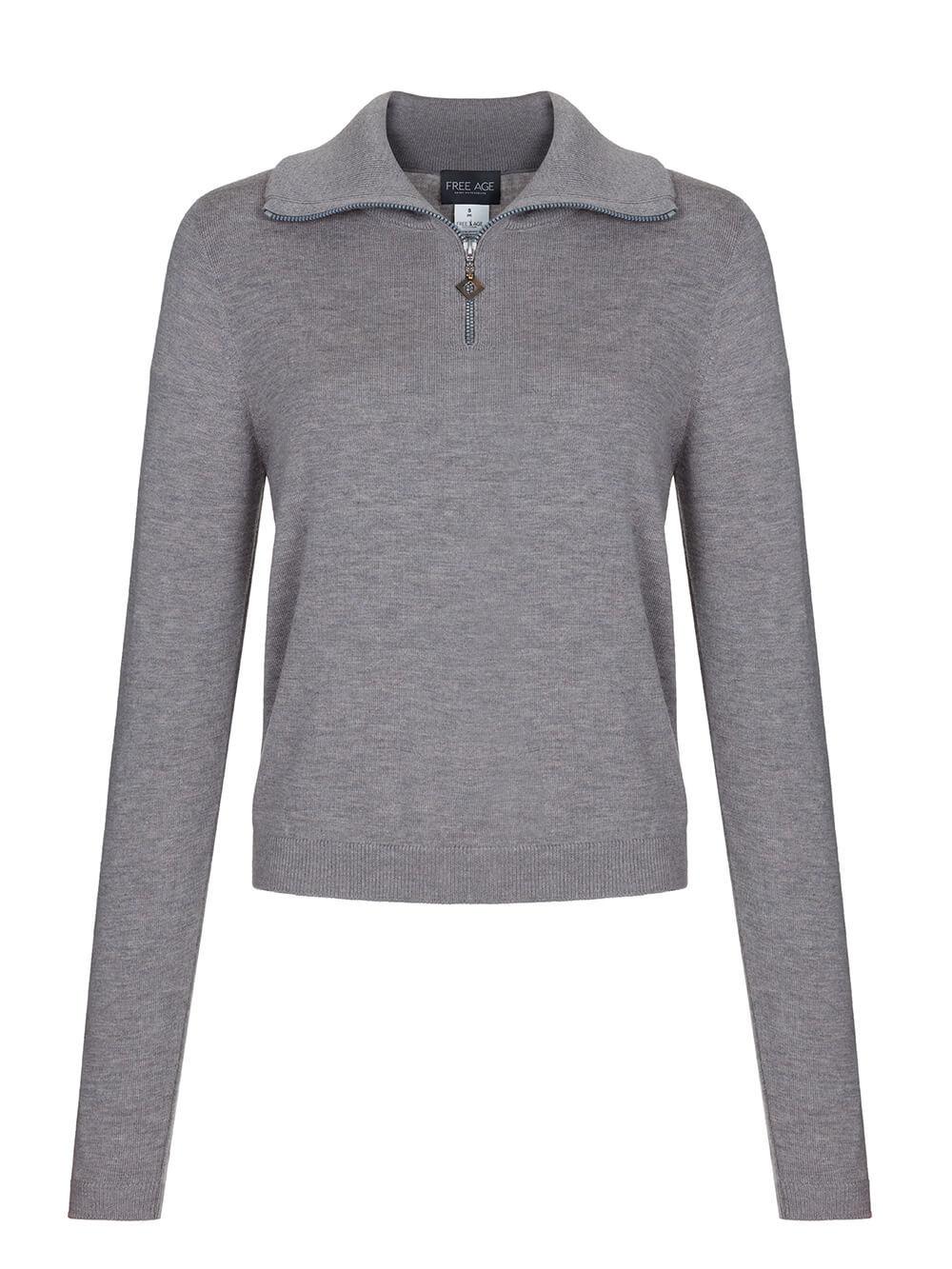 Женский джемпер серого цвета из шерсти и шелка - фото 1