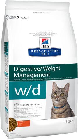 купить хиллс Hill's™ Prescription Diet™ w/d Digestive/Weight Managemen with Chicken сухой корм для взрослых кошек, диетический рацион при сахарном диабете, запорах, колитах 1.5 кг