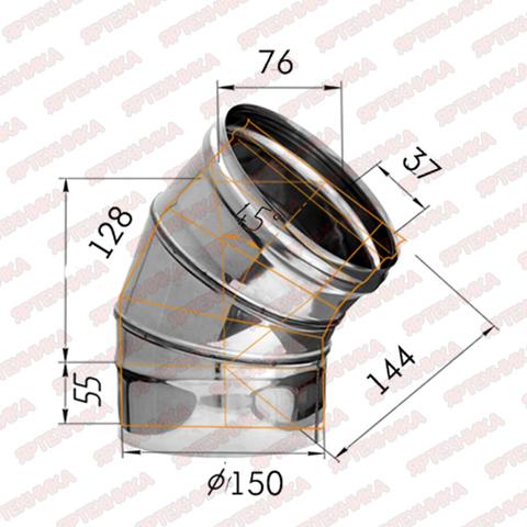 Отвод моно 135° d150мм (430/0,5мм) Ferrum