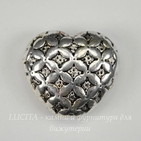 """Бусина металлическая """"Сердце"""" 17х16 мм (цвет - античное серебро)"""