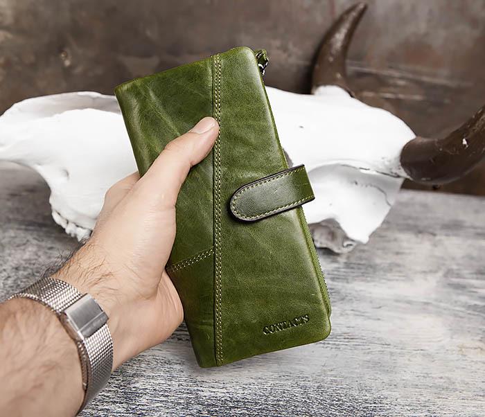 WL252-4 Клатч из натуральной кожи зеленого цвета фото 10