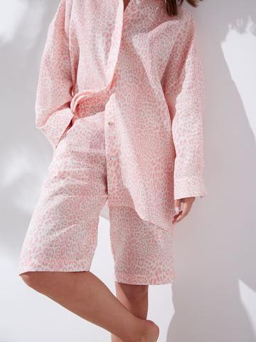 Шорты изо льна Леопард розовый
