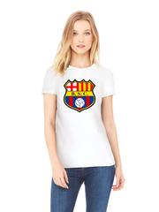 Футболка с принтом FC Barcelona (ФК Барселона) белая w009