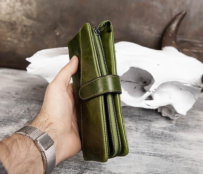 WL252-4 Клатч из натуральной кожи зеленого цвета фото 12