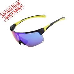 Очки солнцезащитные XQ546, (черно-желтые / синие revo) +3 доп. линзы