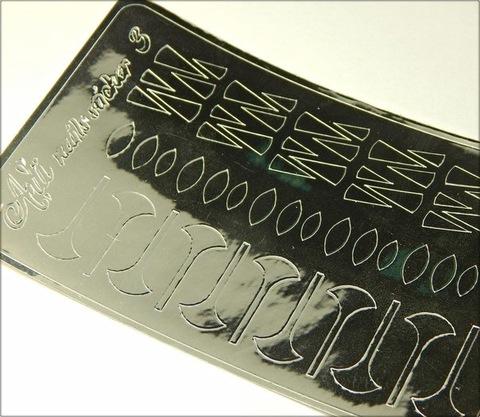 Металлизированные наклейки Arti nails Stiker цвет серебро №3 купить за 100руб