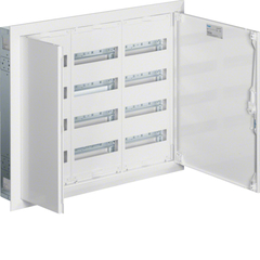 Щит встраиваемый, IP30, 650x800x110мм (ВхШхГ), 2 секции под мод. устр. 96М + клеммы QC PE, одна секция с перф. монт. панелью + розетка SWISS Ст. 4 гнезда, дверь и рамка, IP30, класс защиты II, RAL9010