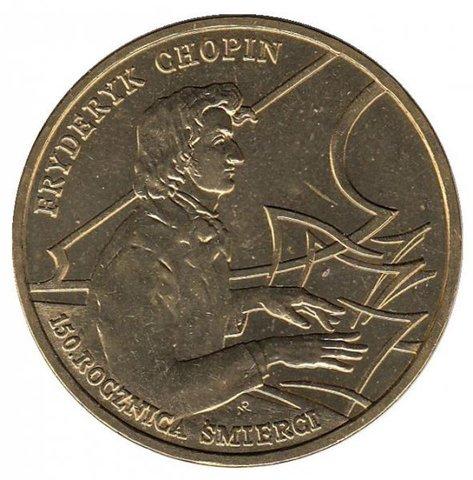 2 злотых 1999 год, Польша. 150 лет со дня смерти Фредерика Шопена. Личности. UNC