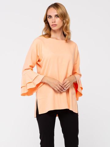 Фото блуза абрикосового цвета с расклешенными рукавами ¾ - Блуза Г645-398 (1)