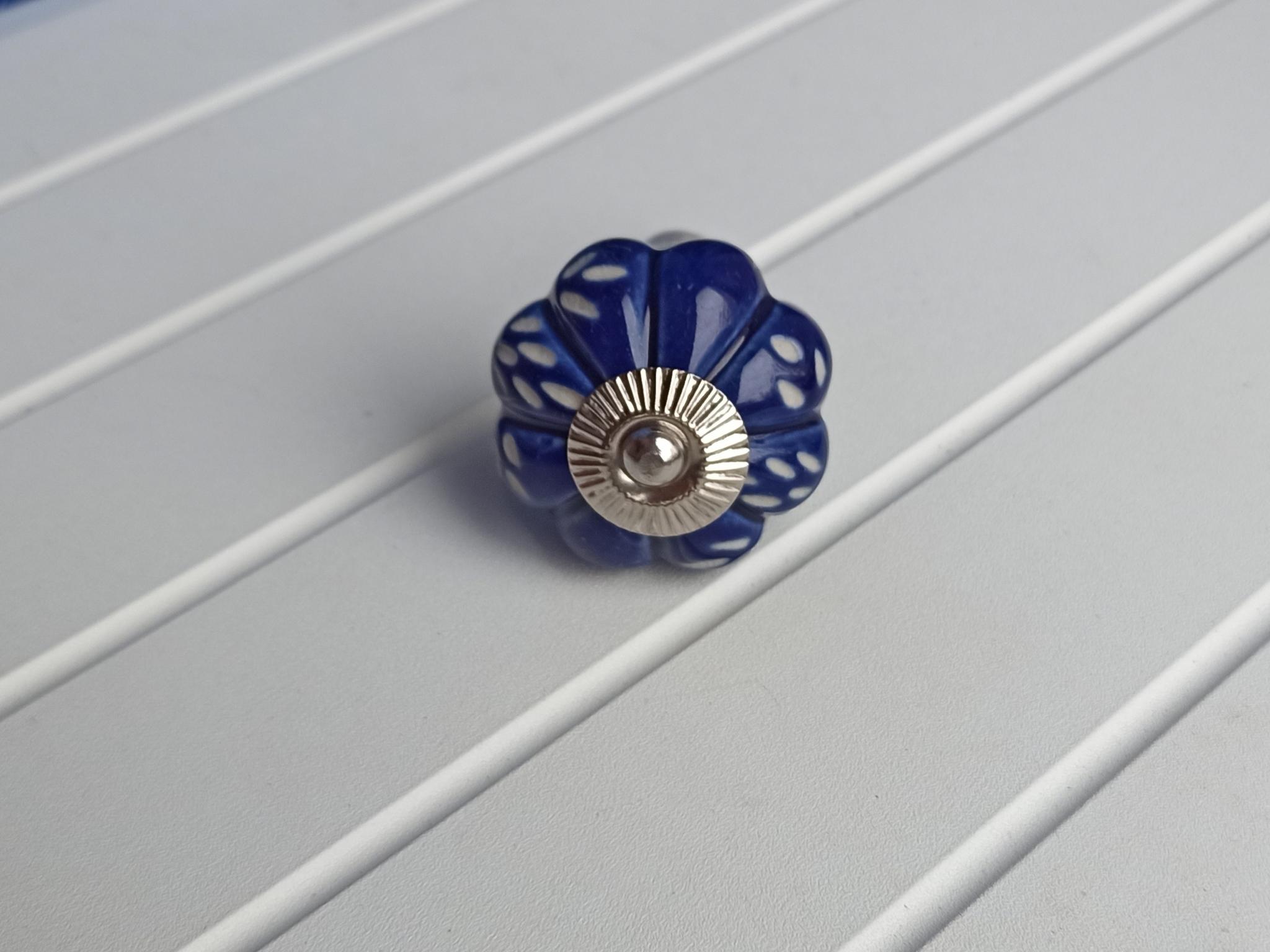 Ручка мебельная керамическая синяя с цветочным узором, арт. 00001060