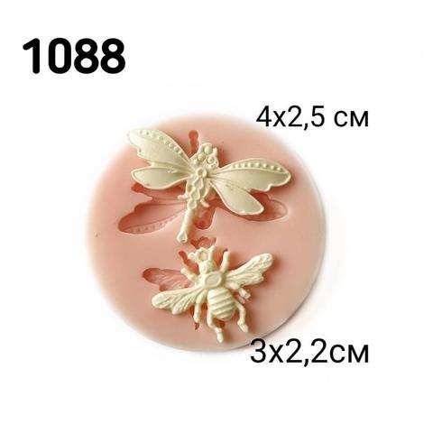 1088 Молд силиконовый. Стрекоза и муха.