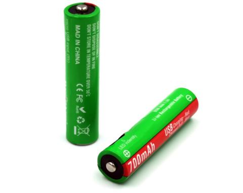 Аккумуляторные батарейки AAA, micro USB, 700 mAh, 1.5V, Li-ion (2 шт.)