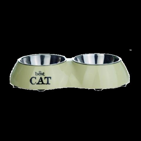 Beeztees Best Cat Миска для кошек 2 в 1 металлическая двойная бежевая