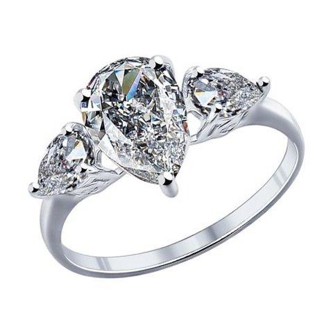 94011767 - Кольцо из серебра с каплевидным фианитом
