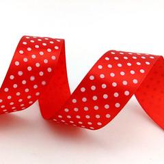 Лента атласная Красный в белый горох, 25 мм * 22,85 м
